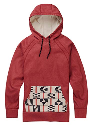 Burton Women's Crown Bonded Pullover Hoodie, Burnt Sienna Heather / Burnt Sienna Brickstripe, Burnt Sienna Heather/ Burnt Sienna Brick Stripe (Snowboard Fiber Mountain All)
