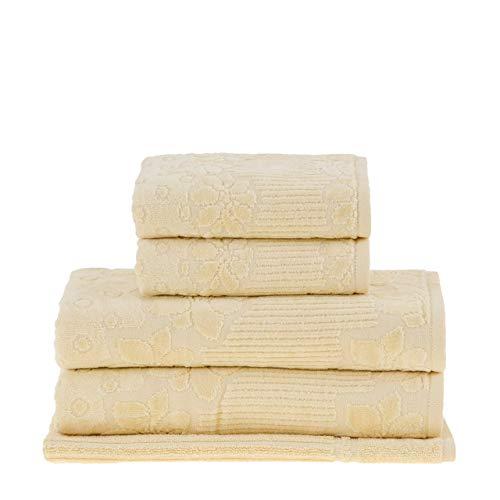 Jogo de toalhas Buddemeyer, Lollipop, Gigante, Amarelo, 5 peças Buddemeyer Lollipop Amarelo Gigante Algodão