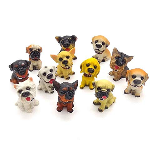 Figure Miniature Dog - Deluxe Assorted Miniature Resin Dog Toy Figures Cake Topper Doggies Playset Punny Series Statue Gift for Dollhouse Shelf Garden Planter Boxes & Puppy Party Set & Teacher Rewards/Prizes (Dozen of 12)