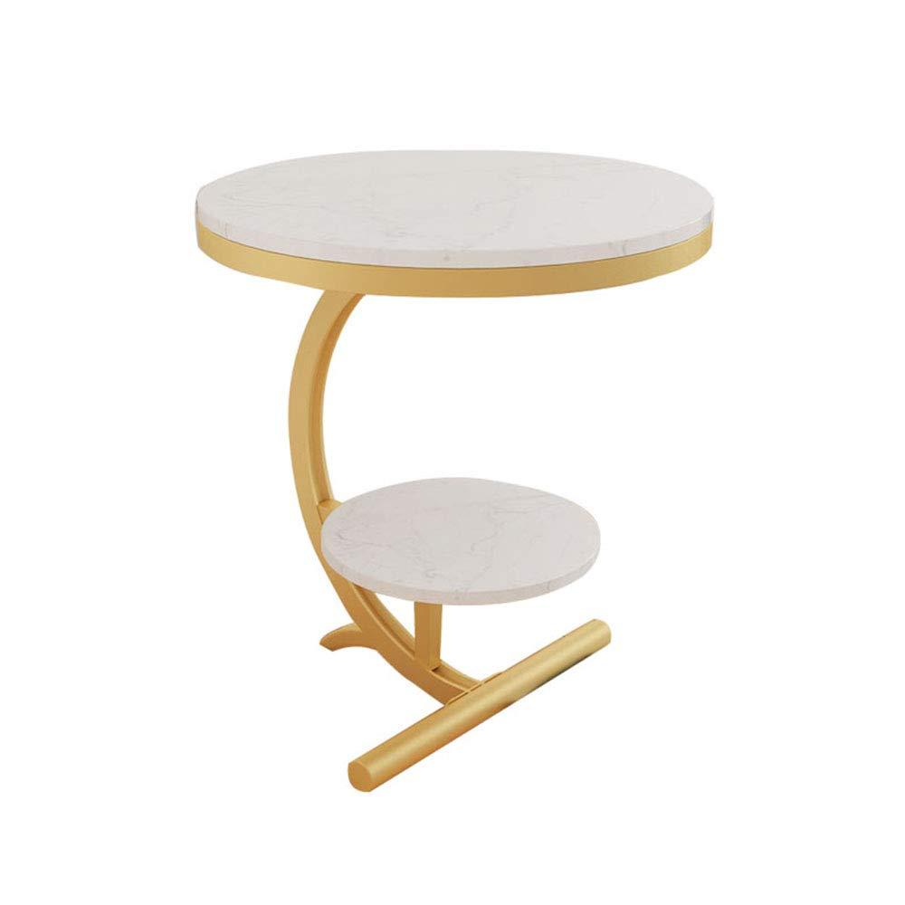 YNN 大理石のコーヒーテーブル錬鉄製のソファーサイドテーブルのリビングルームのベッドルームエンドテーブル2段ラウンドテーブル (色 : 白) B07MY3PTJD 白