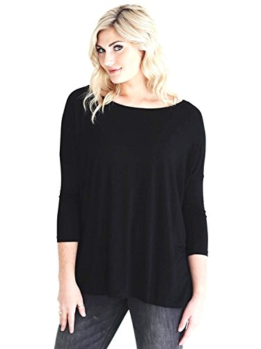 Jack David 3/4 Sleeve Bamboo Top Casual Oversized of Shoulder Lightweight Boat Neck Soft T-Shirt (XL, Black)