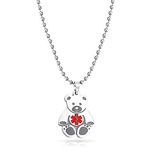 Bling Jewelry Kids Steel Teddy Bear Medical Alert ID Pendant Necklace 14in