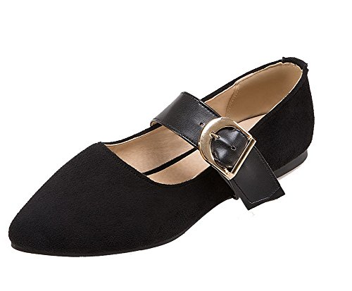 VogueZone009 Women's No-Heel Solid Buckle Frosted Closed Toe Pumps-Shoes Black xnC1V