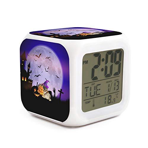 HOTMN Witch Pug Halloween bat Pumpkin Style Funny Multifunction Digital Desk Alarm Clock with LED Touch Light Desk Watch Table Clock]()