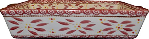 "Temp-tations 11""x7"" 2.5 Quart Baker Lasagna Casserole Dish Replacement - Old World Pattern (Old World Cranberry)"