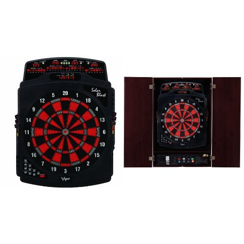 Viper Solar Blast Electronic Dartboard with Mahogany Cabinet Bundle by Viper
