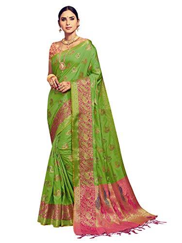 Sarees for Women Banarasi Kanjivaram Art Silk Woven Saree l Indian Ethnic Wedding Gift Sari with Unstitched Blouse Green