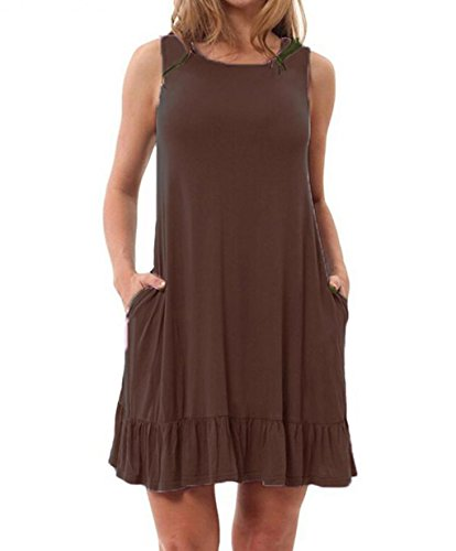 3d422c2f777 GABREBI Womens Summer T Shirt Dress Plain Ruffle Loose Casual Plus Size  Swing Sundress With Pockets
