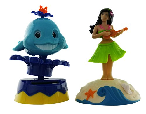 Cool Dancing Tiny Toys | Spring Solar Powered Dancing Whale and Dancing Hula Girl (2 Pack) | Cool Home Party Décor or Gift Idea (Sun Ideas Porch)