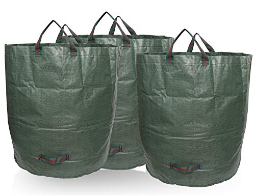 BNSPLY 3-Pack 72 Gallons Garden Waste Bags - Large Reusable Gardening Bagster with 4 Handles - Collapsible Lawn and Yard Waste Containers