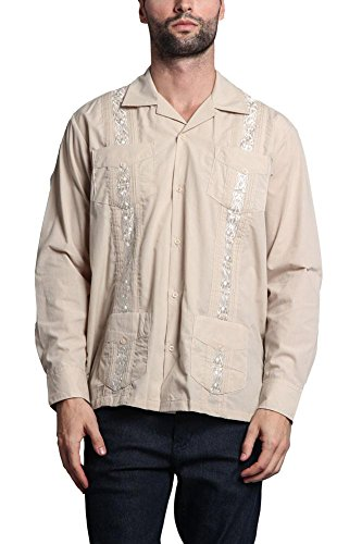 G-Style USA Men's Long Sleeve Guayabera Cuban Long Sleeve Collared Embroidered 4 Pocket Cotton Blend Shirt 2016-1 - Beige - ()