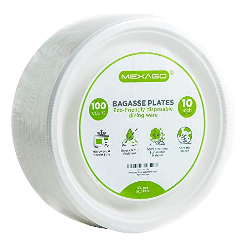 Mexago Eco-Friendly Round Compostable Plates - 10 inch | 100 Count - Natural Alternative to Paper Plate | Made of Sugarcane Bagasse ()