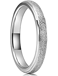 3mm Stainless Steel Wedding Ring Domed Matte Frosted Wedding Band Engagement Ring
