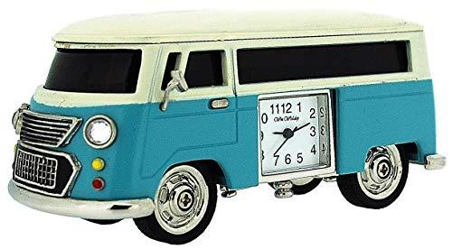 (Miniature Blue Camper Van - Caravan Novelty Desktop Collectors Clock 9710BL)