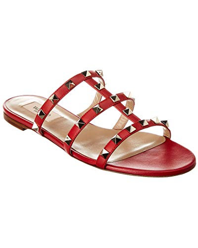 VALENTINO Rockstud Caged Leather Slide, 38.5, Red for sale  Delivered anywhere in USA
