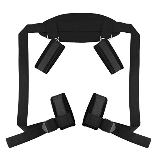 BDSMS Bed Restraints Kit Wrist Thigh Leg Restraint System Hand & Ankle Cuff Bed Restraints Sex Bondage Position Support Sling Sex Play (Black) by Double Couple (Image #4)