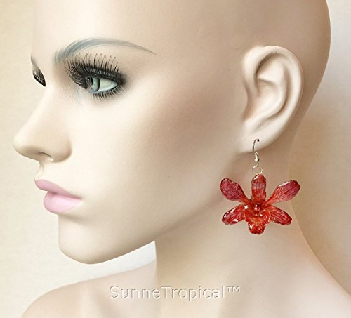 Red Dendrobium Orchid (Dendrobium orchid real flower jewelry earring - RED)