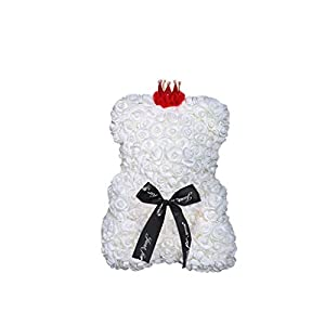 Rose Teddy Bear with a Red Crown Foam Flower Teddy Gift for Wedding Birthday Anniversary 8-Color Choice 106