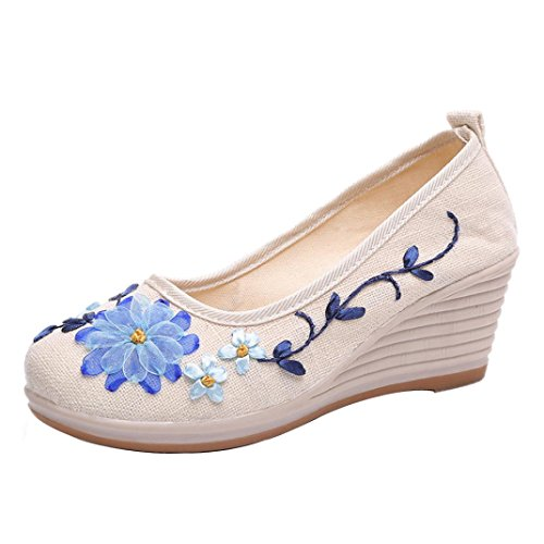 Byste Women's Fashion Shoes Espadrilles - Slip-on - Soft - Wedge -Floral Printing-Basic Round Toe Embroided Casual Wedge White