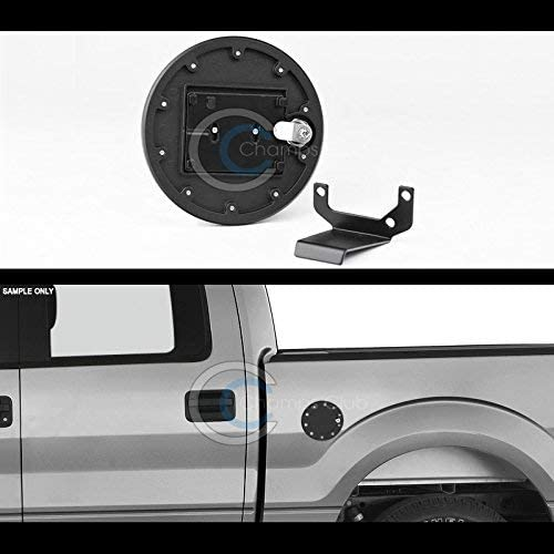 R/&L Racing Matte Black Aluminum Fuel Gas Door Cover Cap Lock Key 09-14 Ford F150 Pickup Truck