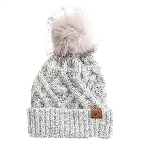 Desert Cactus Alpha Phi Faux Fur Pom Winter Beanie Hat A Phi Gray