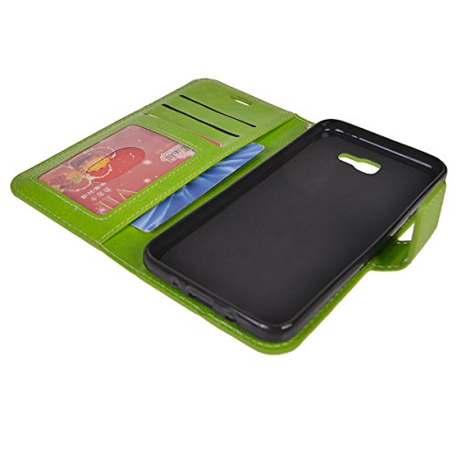 Galaxy J5 Prime Funda,COOLKE Retro PU Leather Wallet With Card Pouch Stand de protección Funda Carcasa Cuero Tapa Case Cover para Samsung Galaxy J5 Prime SM-G570F/DD - Negro Verde