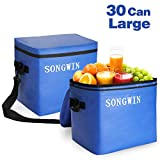 Songwin Portable 30 Can Large Cooler Bag,Waterproof Zipper and 100% Leakproof,Insulated Lunch Bag for Hiking,Camping,Sports,Picnics BBQ,Sea Fishing,Road Beach Trip.(Blue/Black)
