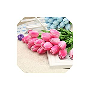 Artificial Tulips Decorative Pu Mini Tulip Flower 10Pcs/Lot Real Touch Flower Bouquet Artificial Silk Flowers for Home,Deep Pink 24