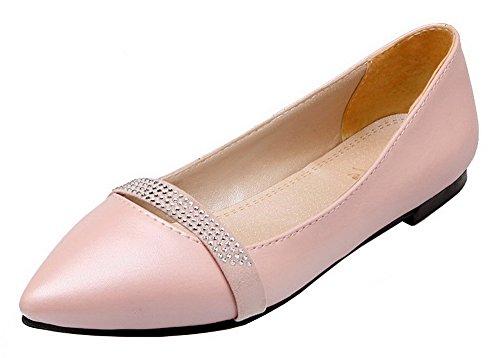 Solid Toe Heels PU Closed Pumps AllhqFashion Pink Low Shoes Womens gwRqxIqZP