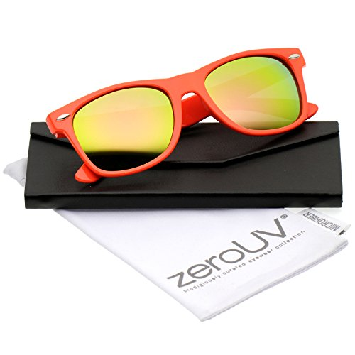 Retro Large Square Colored Mirror Lens Horn Rimmed Sunglasses 55mm (Orange/Pink-Green Mirror)