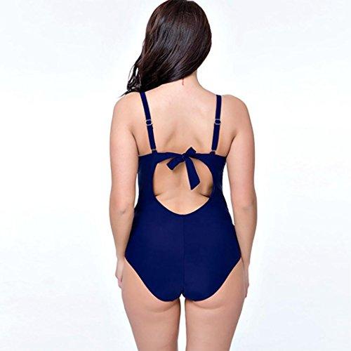 HXQ Mujeres Escotado por detrás Impresión Bikini Una pieza Trajes de baño Blue