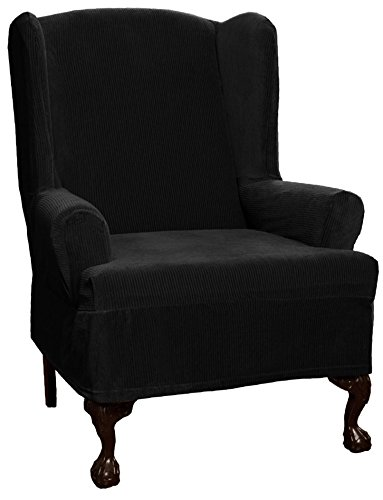 Maytex Collin Stretch 1-Piece Wing Chair Furniture Cover / Slipcover, Black -