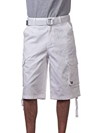 Men's Cotton Twill Cargo Shorts with Belt - Regular and Big & Tall Sizes