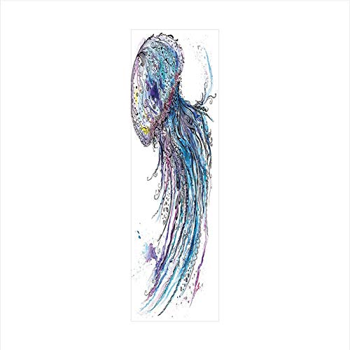Decorative Window Film,No Glue Frosted Privacy Film,Stained Glass Door Film,Aqua Colors Art Ocean Animal Print Sketch Style Creative Sea Marine Theme,for Home & Office,23.6In. by 78.7In Blue Purple Wh