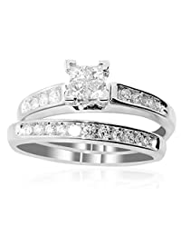 10K White Gold Bridal Set 1/2cttw Princess Cut Diamonds 2pc Set