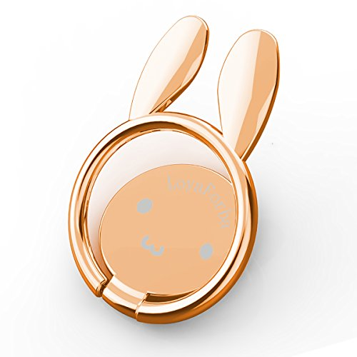 Price comparison product image LoyaForba Cell Phone Ring Holder 360° Rotation Thin Universal Animal Rabbit Phone Finger Ring Stand for iPhone X 8 7 6 Plus 6s 5 5s, Samsung Galaxy S8 S7 Edge,Fit for Magnetic Car Mount(Rose Gold)