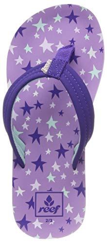 Reef Girls Ahi Kids Pool Beach Flip Flops Thongs Sandals - Purple Stars - 13/1US
