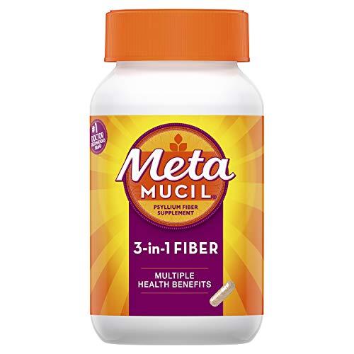 Metamucil Fiber, 3-in-1 Psyllium Capsule Fiber Supplement, 160 ct Capsules (Packaging May Vary)