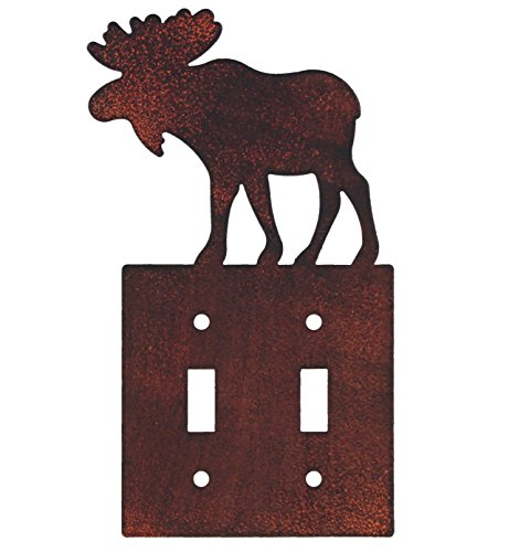 Moose Switch Plates (Rustic Moose Profile Heavy Duty Metal Electrical Cover Wall Plates (Double Switch))