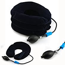 Itian Inflatable Cervical Neck Traction Device for Head & Shoulder Pain - Inflatable Neck Pillow / Cervical Traction Pillow - Improved Home Cervical Traction Device with Adjustable Size, Bigger Pump