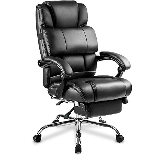 MIERES Technical Leather Big & Tall Executive Recliner Napping-Black