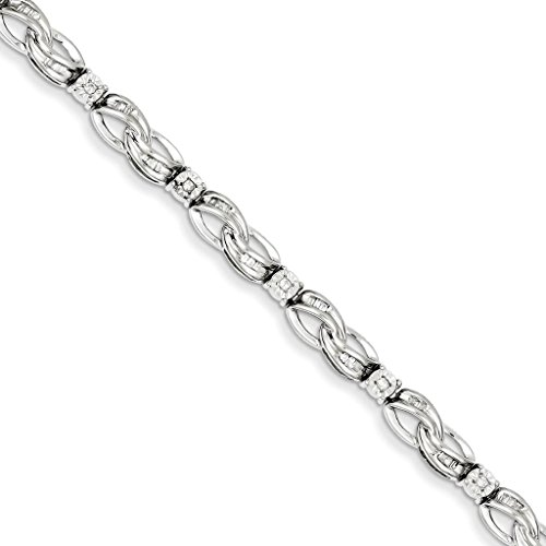 925 Sterling Silver Rhodium-plated Polished Diamond Infinity Symbol Tennis Bracelet 7'' by Venture Silver Bracelet Collection