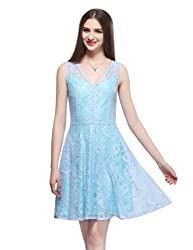 Maxchic Women's V-neck Sleeveless Fit-and-Flare Lace Dress X12044Y14M,Blue,X-Large