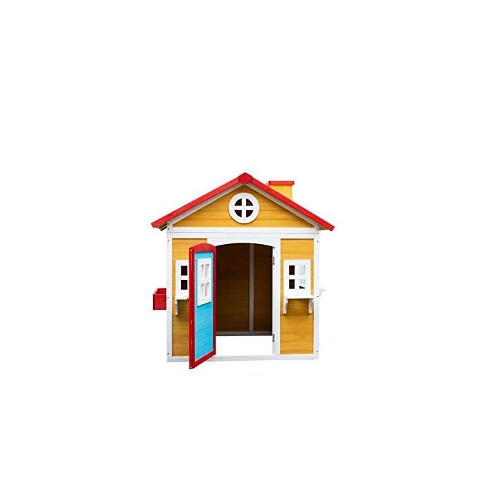 41YdpSpaVIL La casita Visby es una preciosa casita con unos colores que a los niños les encantará. Son colores muy cálidos y agradables que harán de esta casita un lugar del que no salir. La casita Visby es de un tamaño compacto, apta para cualquier jardín o patio particular. La casita Visby tiene muchos detalles que darán vida a esta casa. Desde sus ventanas fijas y practicables hasta los maceteros o incluso una chimenea en su interior! La casita Visby parece una casa de madera de verdad, un auténtico refugio donde sus sueños se harán realidad. La casita Visby está fabricada de madera de pino y está tratada para ser instalada al exterior. El montaje de la casita es fácil y te llevará poco tiempo. En unos minutos tendrás la casita Visby montada y lista para instalar en cualquier espacio de tu jardín y a punto para que jueguen con ella durante horas y horas.