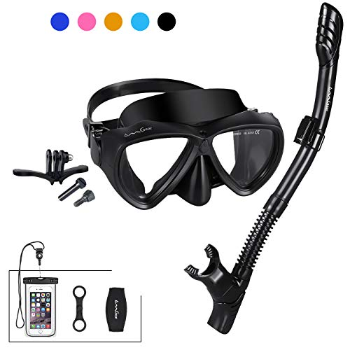 Snorkel Package Scuba Equipment - Snorkel Set Snorkeling Gear Package Diving Set Premium Silicone Dive Mask Snorkel Equipment Goggles Anti-fog Anti-leak Neoprene Mask Strap Scuba Diving Freediving Spearfishing Swimming (black-camera )
