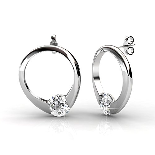 Valentine's Day Gift VIDENG POLO 18K White Gold Plating Cycle Hoop Earrings Studs Made with Swarovski Element Crystal for Women Ladies Wife Girlfriend (DE10-CIRCLE) - 18k Circle Earrings