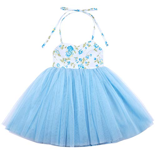 Flofallzique Blue Summer Girls Dress Tulle Tutu Wedding Party Princess Toddler Dress for 1-8 Y(7, Blue)