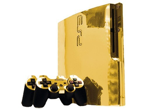 (Sony PlayStation 3 Slim Skin (PS3 Slim) - NEW - GOLD CHROME MIRROR system skins faceplate decal mod)