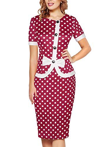 Fantaist Polka Dot Dress with Bow,Vintage Pencil Dresses for Women Work Knee Length (L, FT636-Red Dot)