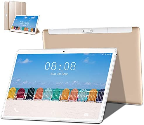 [2020 New] Tablets, 10.1 inch Tablet, Android 9.0 Pie Tablet, Quad-Core Processor, 3GB RAM 32GB ROM with 1280×800 IPS HD Display, Dual SIM 4G, 8MP Rear Camera, Bluetooth 5.0, WiFi, GPS- (Gold)